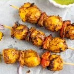 Tandoori Aloo Tikka Skewers with chutney