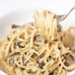 Closeup of spaghetti noddles in a fork