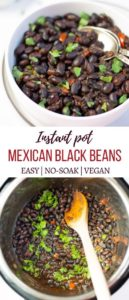 Mexican Black Beans garnished with cilantro in a bowl and in the instant pot
