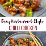 Easy Restaurant style Chilli Chicken in a plate and a pan