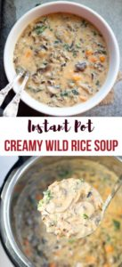 Instant Pot Wild Rice Soup in a white bowl and instant pot