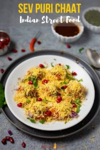 indian street chat Sev Puri with chutneys on the side
