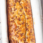 Baked bread with chocolate chips in a load pan