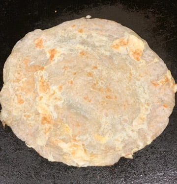 Frankie roti cooked on a tawa
