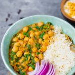 Easy vegan chickpea curry in a bowl with rice