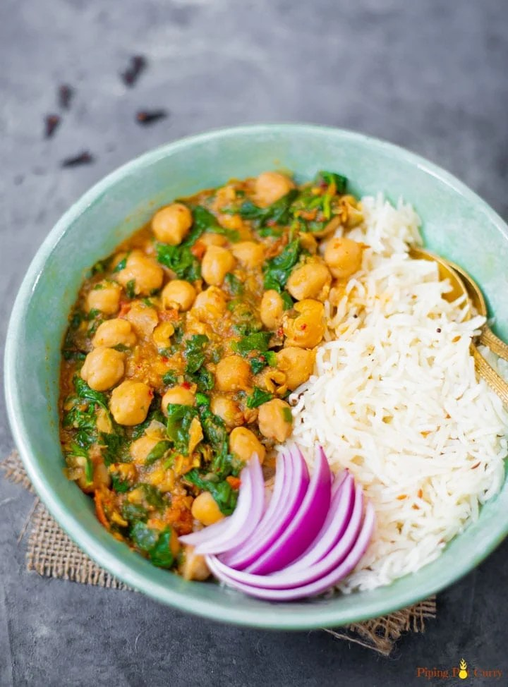 Chana Saag along with rice in a bowl