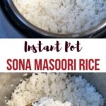 White Rice in the Instant pot with a closeup in a ladle