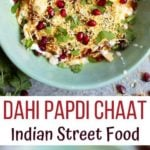 Dahi Papdi chaat in a green bowl