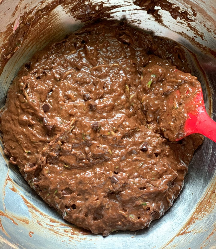 Batter to make zucchini bread with whole wheat flour