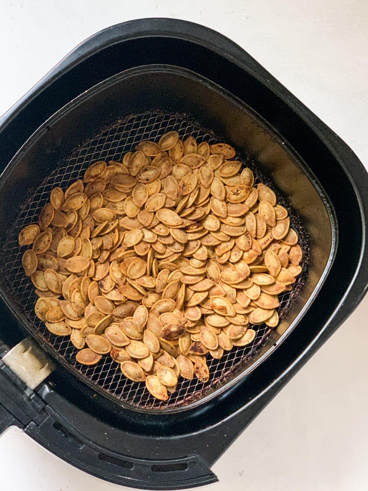 Pumpkin seeds roasted in an air fryer
