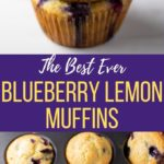 Two stacked blueberry muffins along with the muffins freshly baked in a baking pan