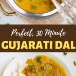 perfect 30-minute instant pot Gujarati Dal in a bowl and in a plate with rice