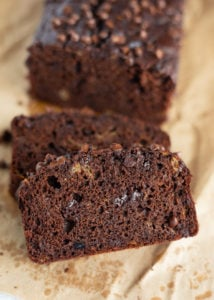 Sliced chocolate banana bread