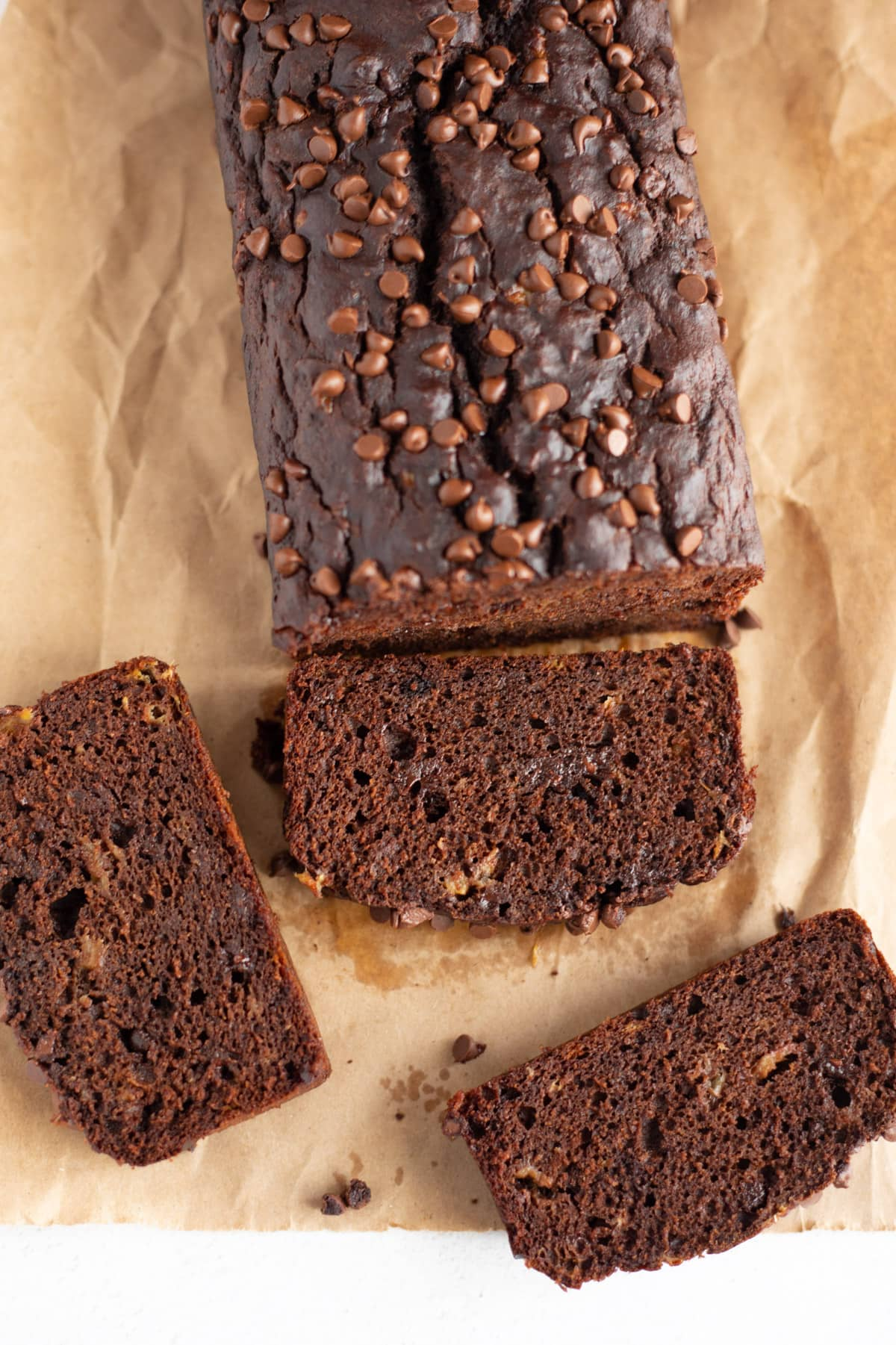 3 slices of chocolate banana loaf