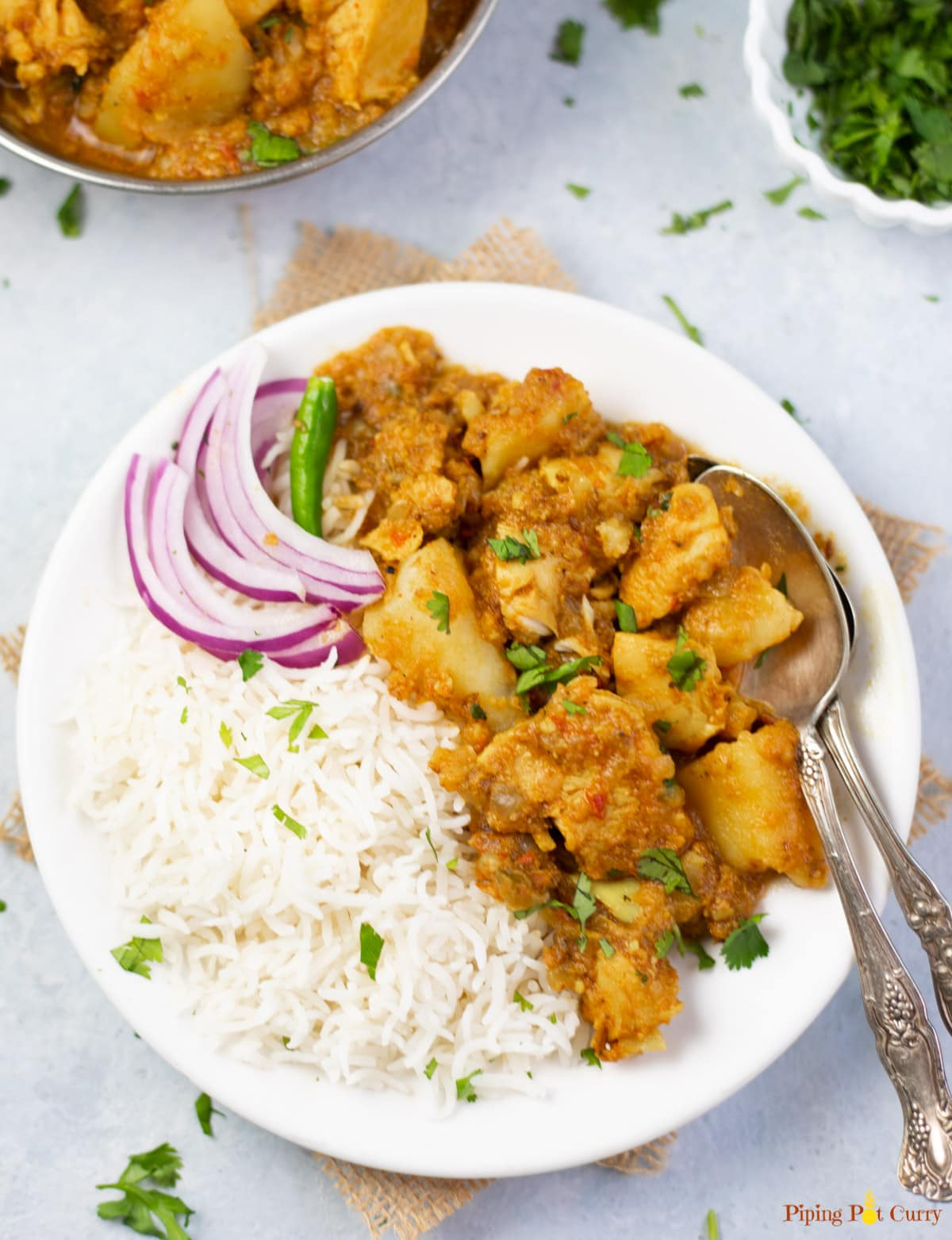 Chicken and potato curry with rice and red onions in a white plate