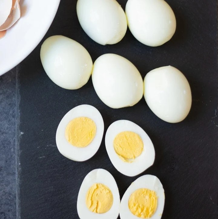 hard boiled eggs cut in 2 and some whole