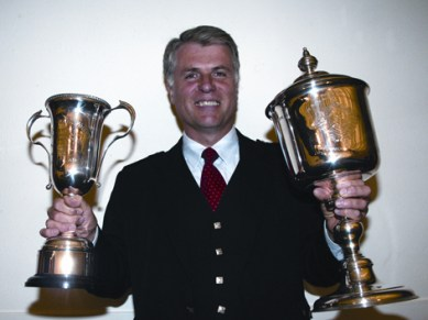 Jack Lee with the Senior Piobaireachd trophies at the Argyllshire Gathering