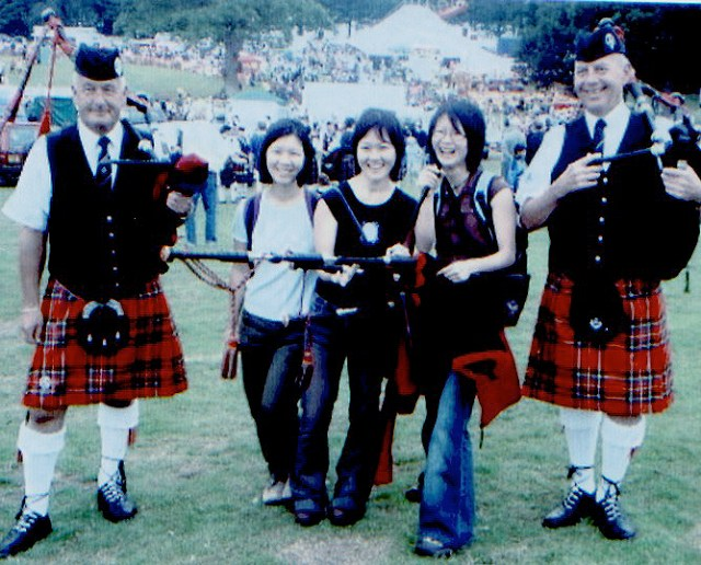 Dougie in Kilsyth rig-out with his friend James Cameron Stuart and some overseas visitors