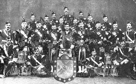 The 8th Argylls Volunteers Pipe Band. Pipe Major John MacDougall Gillies can be sene standing second from the left