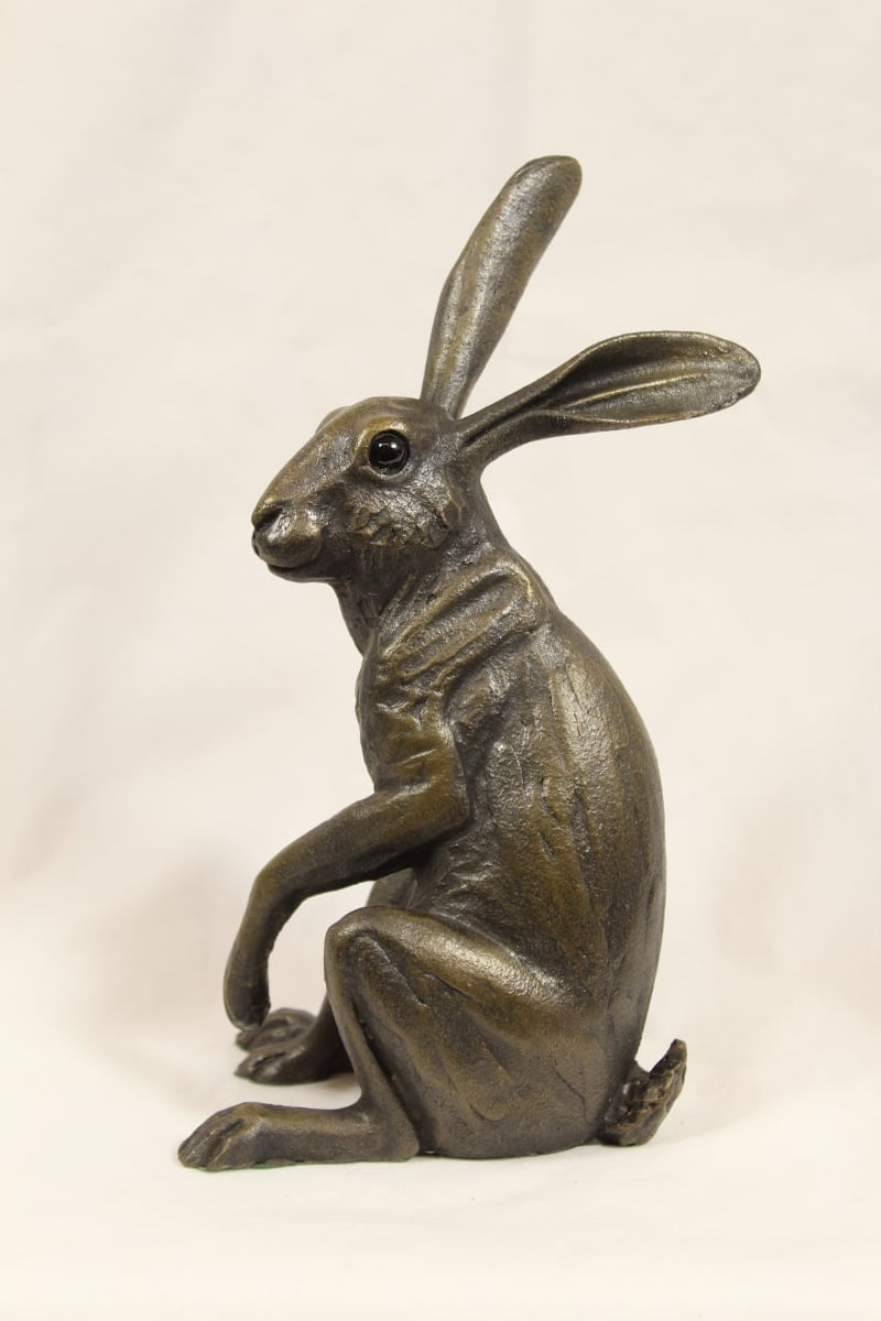 bronze resin Listening Hare, medium ( medium )