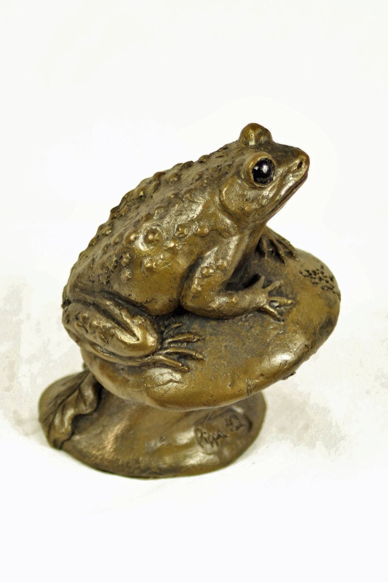 bronze resin Toad on toadstool
