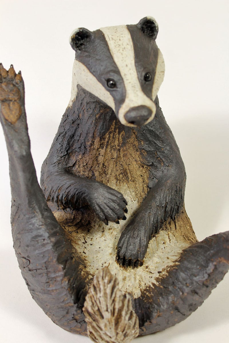 Badger, Scratching his tummy, large - ceramic clay sculpture