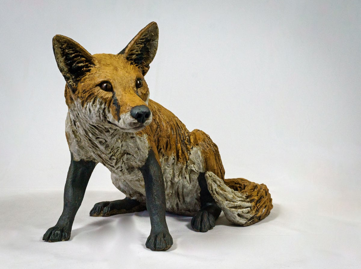 Red Fox - ceramic clay sculpture