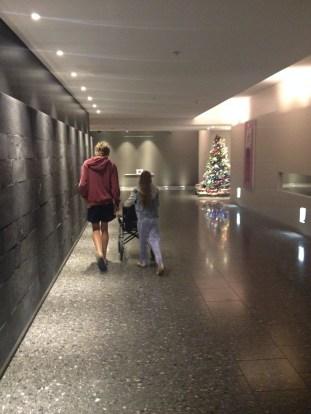 Walking her leg muscles