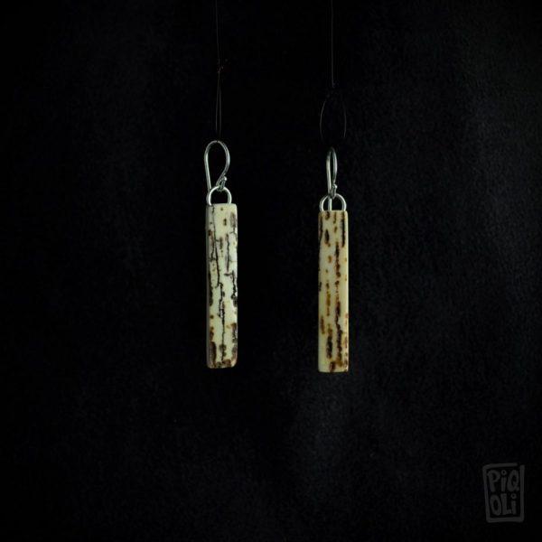 boucles d oreilles écorce d'ivoire de mammouth brun