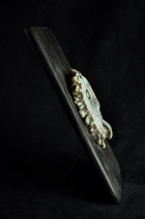 Couronne de bois d élan sculpté sur chêne de tourbières