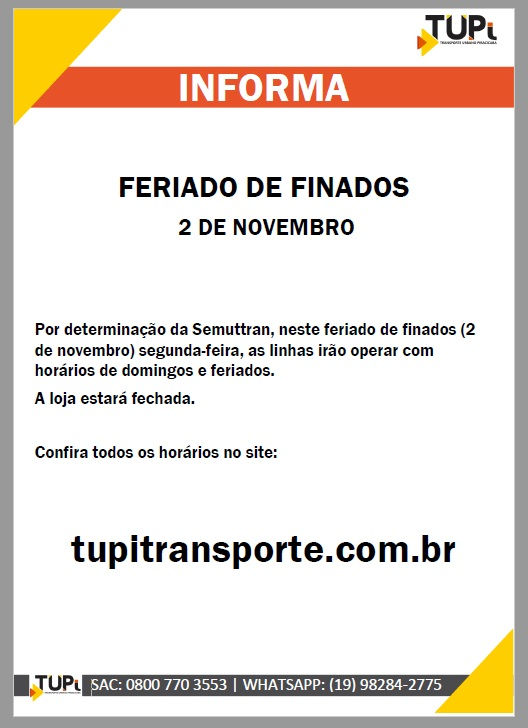 Confira o funcionamento dos ônibus de Piracicaba para o feriado de Finados