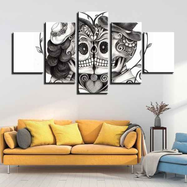 Mexican sugar skull painting on wall