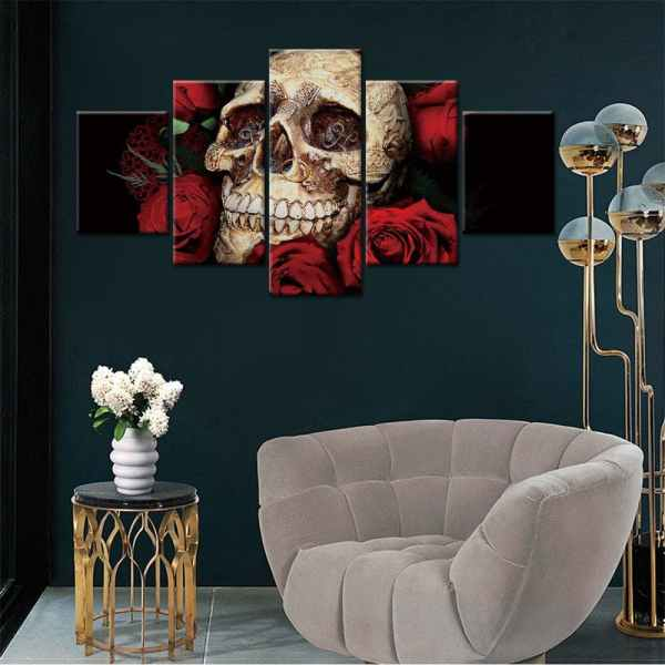 Skull and rose painting on wall