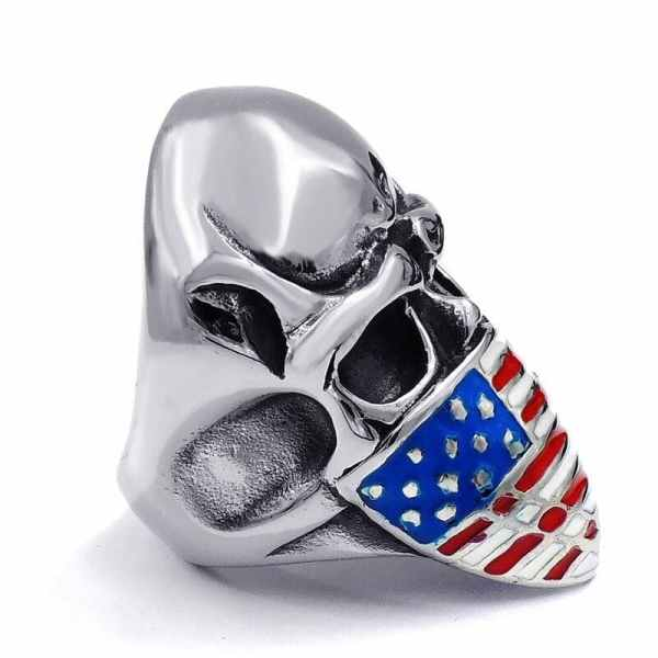 American Flag Skull Ring side