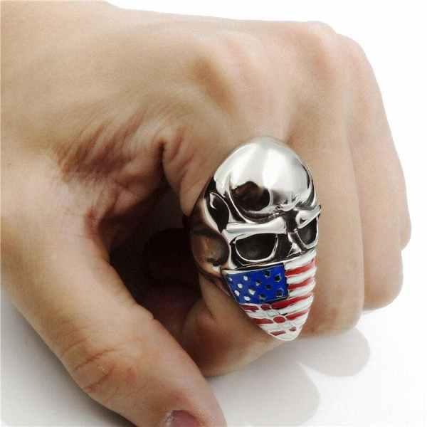 Wearing an American Flag Skull Ring