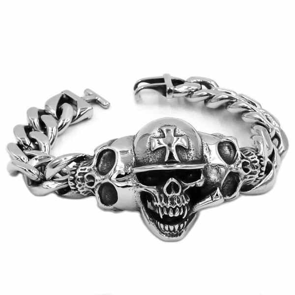 Skull Bracelet Biker Mens