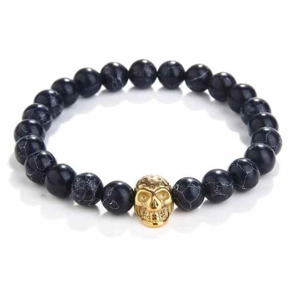 Black Beads Skull Bracelet
