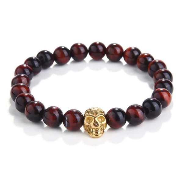 Red Tiger Eye Beads Skull Bracelet