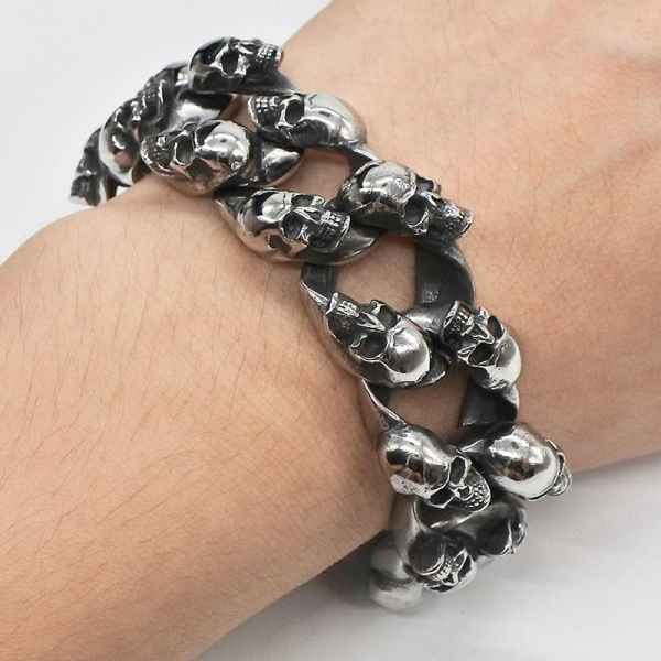 Wearing Skull Chain Bracelet