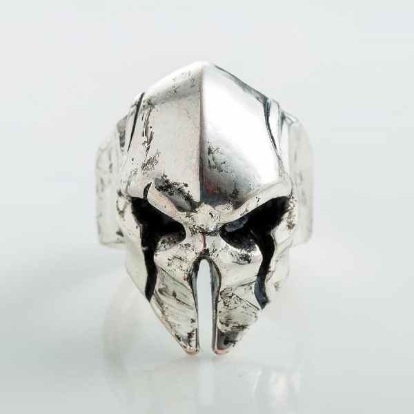 Spartan helmet ring silver