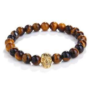 Tiger Eye Beads Skull Bracelet