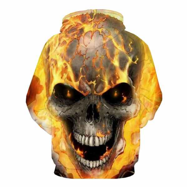 Fire Skull Hoodie back