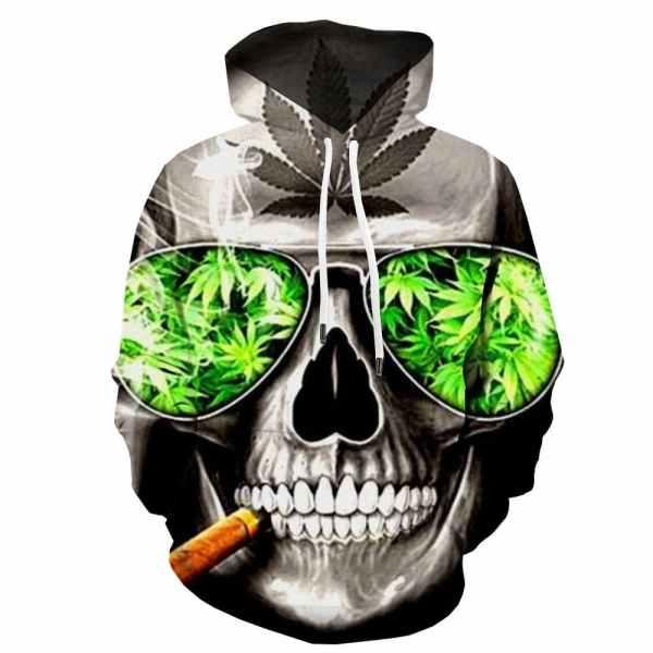 Skull Smoking Weed Hoodie