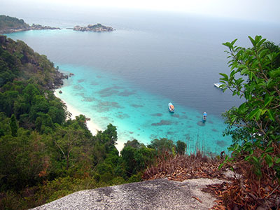 Looking down from the view point on Similan 4