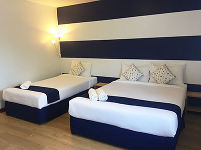 TripQuad beds in a hotel in Khao lak