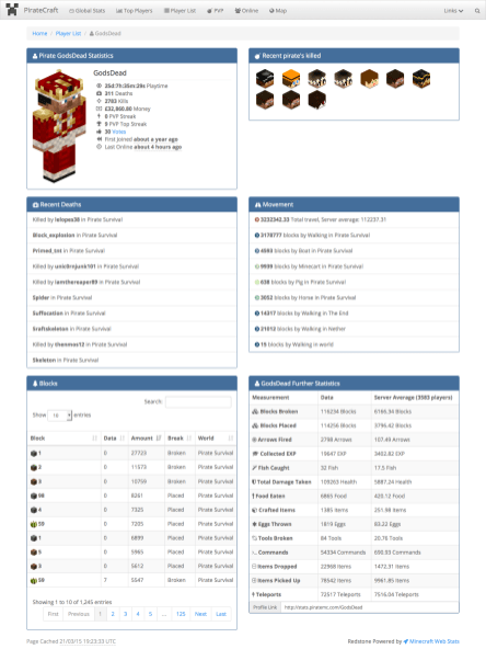 Minecraft Web Stats - Player Profile
