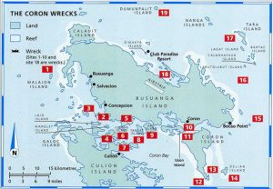 A scuba diving map of the wrecks around Coron