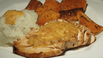 Pan-seared salmon w/ mashed potatoes and roasted squash