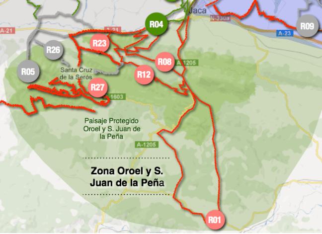 Mapa resumen rutas, Zona Oroel