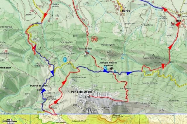 Mapa detalle Senda del Oro y DH 02 Ulle